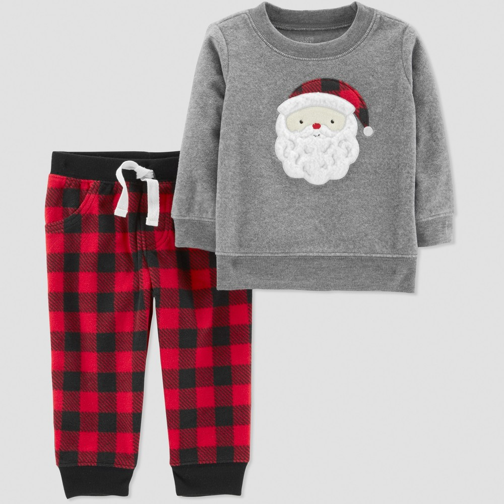 Toddler Boys' 2pc Buffalo Check Santa Set - Just One You made by carter's Gray 5T