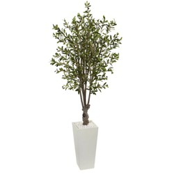 6ft Artificial Olive Tree in White Tower Planter - Nearly Natural