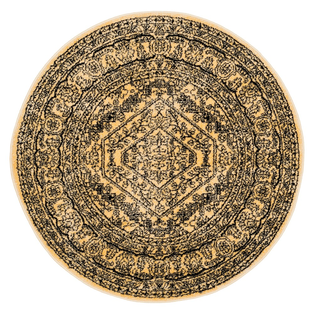 Gold/Black Medallion Loomed Round Area Rug 4' - Safavieh