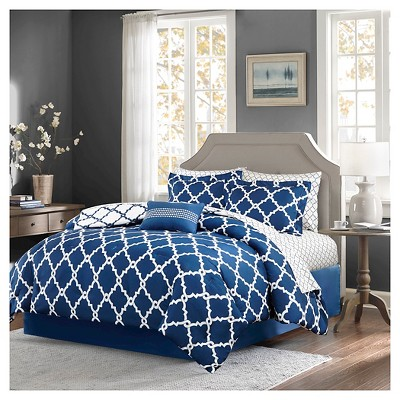 Navy Becker Complete Multiple Piece Comforter and Sheet Set (Queen)- 9 Piece