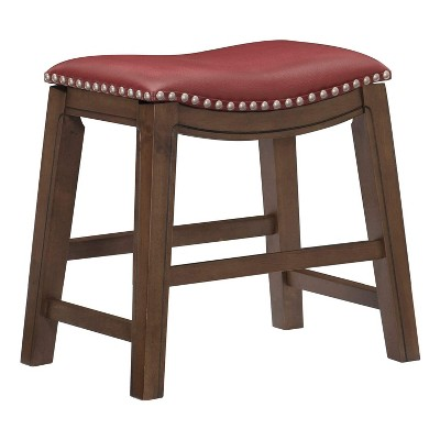 Homelegance 18-Inch Dining Height Wooden Bar Stool with Solid Wood Legs and Faux Leather Saddle Seat Kitchen Barstool Dinning Chair, Brown and Red