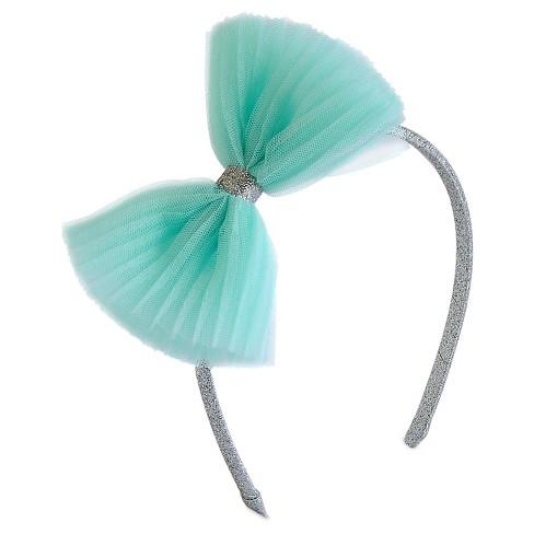 Girls' Tulle Bow Headband Cat & Jack™ - Pastel Turquoise - image 1 of 1