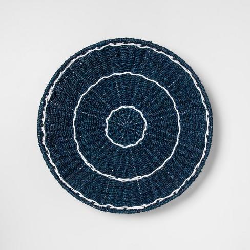 19 7 Seagrass Fiber Round Wall Art Blue White Opalhouse Target