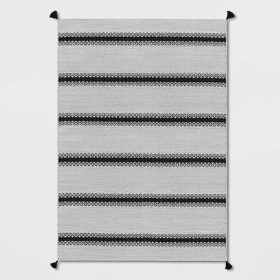 7' x 10' Outdoor Rug Argyle Stripe Black - Threshold™