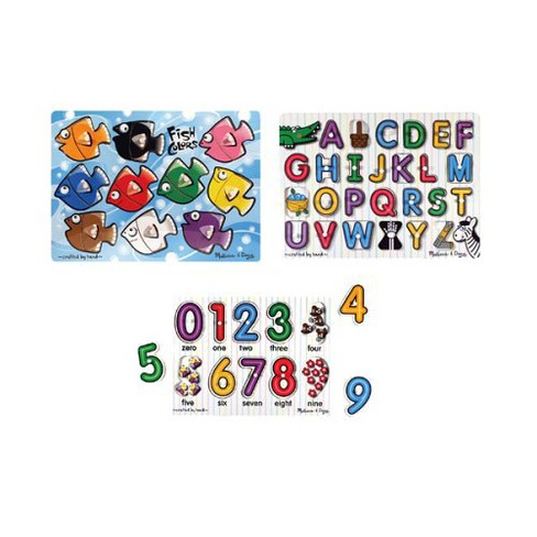 Melissa & Doug® Fish Colors, ABC, and Numbers Wooden Mix 'n Match Peg Puzzle Bundle - image 1 of 1