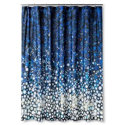 Fleck Circle Shapes Shower Curtain Blue/White - AiR