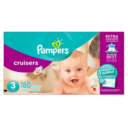Pampers Cruisers Diapers One Month Supply Pack Size 3 (180ct) - image 1 of 4