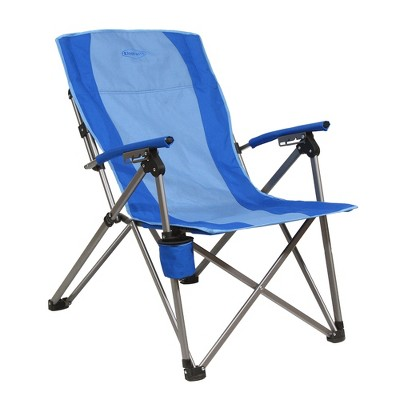 Kamp-Rite KAMPCC136 3 Position Reclining Hard Arm Outdoor Camping Folding Chair with Swing Away Cupholders, 2 Tone Blue