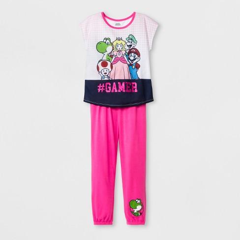 Girls' Super Mario 2pc Pajama Set - Pink - image 1 of 1