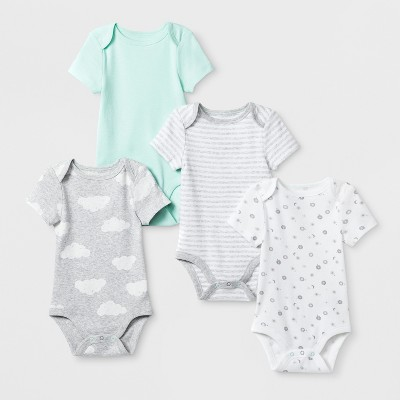 Baby Boys' In the Clouds 4pk Shorts sleeve Bodysuit - Cloud Island™ Mint Newborn