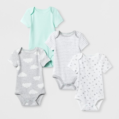 Baby Boys' In the Clouds 4pk Shorts Sleeve Bodysuit - Cloud Island™ Mint - image 1 of 1