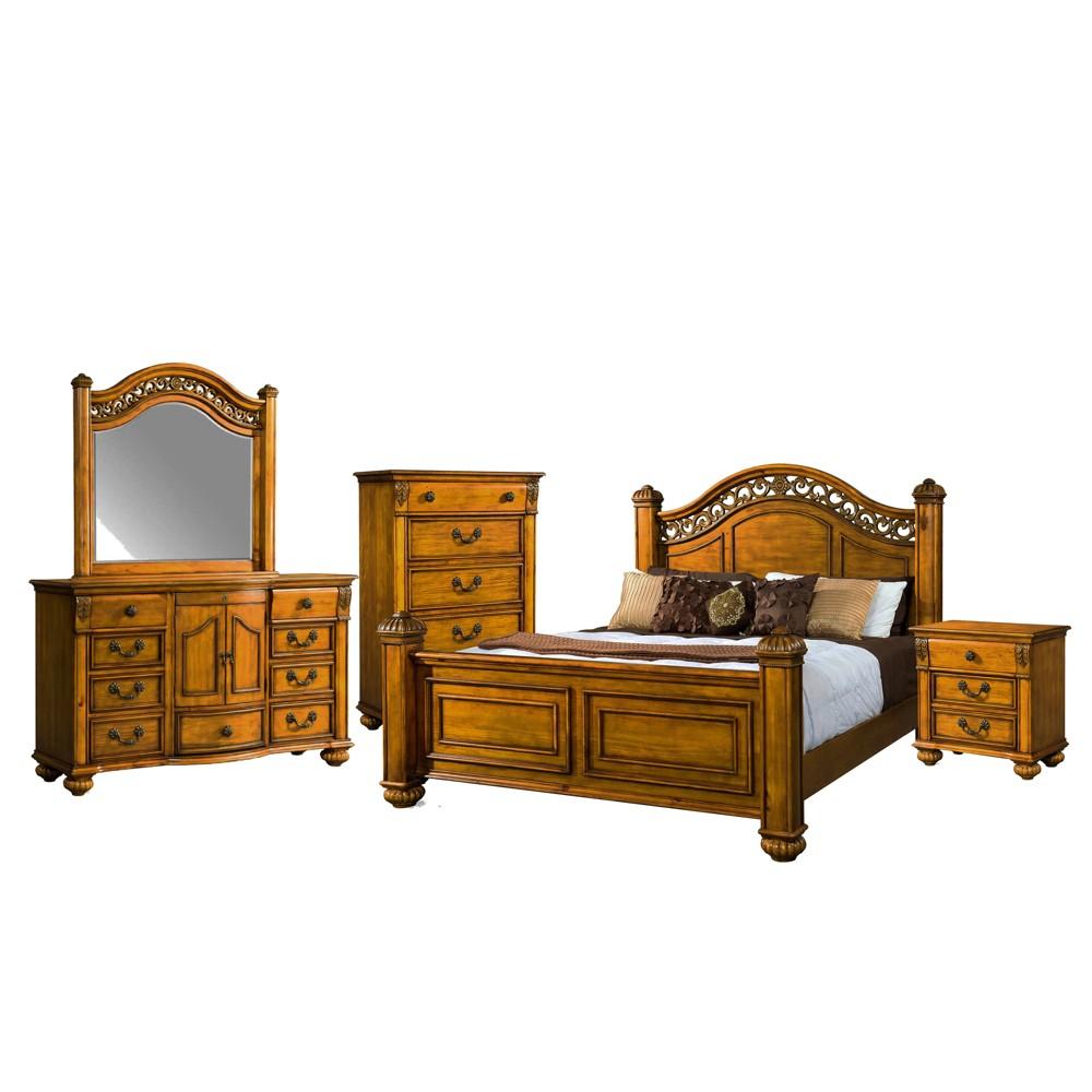 Image of 5pc Barrow Queen Poster Bedroom Set Oak - Picket House Furnishings