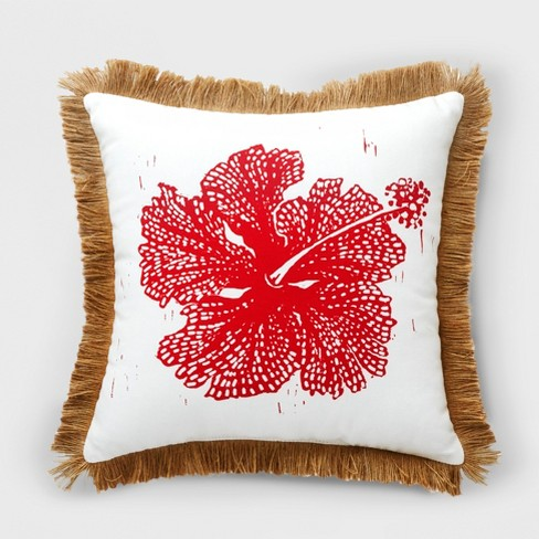 Hibiscus Outdoor Pillow Red - Opalhouse™ - image 1 of 3