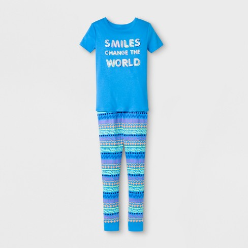 Girls' Smiles Change the World Printed Pajama Set - Cat & Jack™ Blue - image 1 of 1