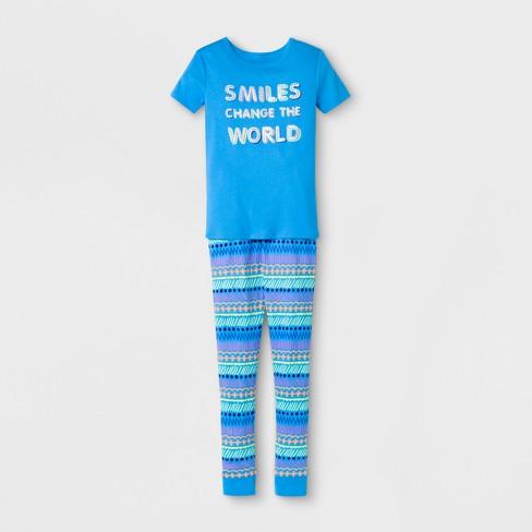 7805bc29e Girls  Smiles Change The World Printed Pajama Set - Cat   Jack™ Blue ...