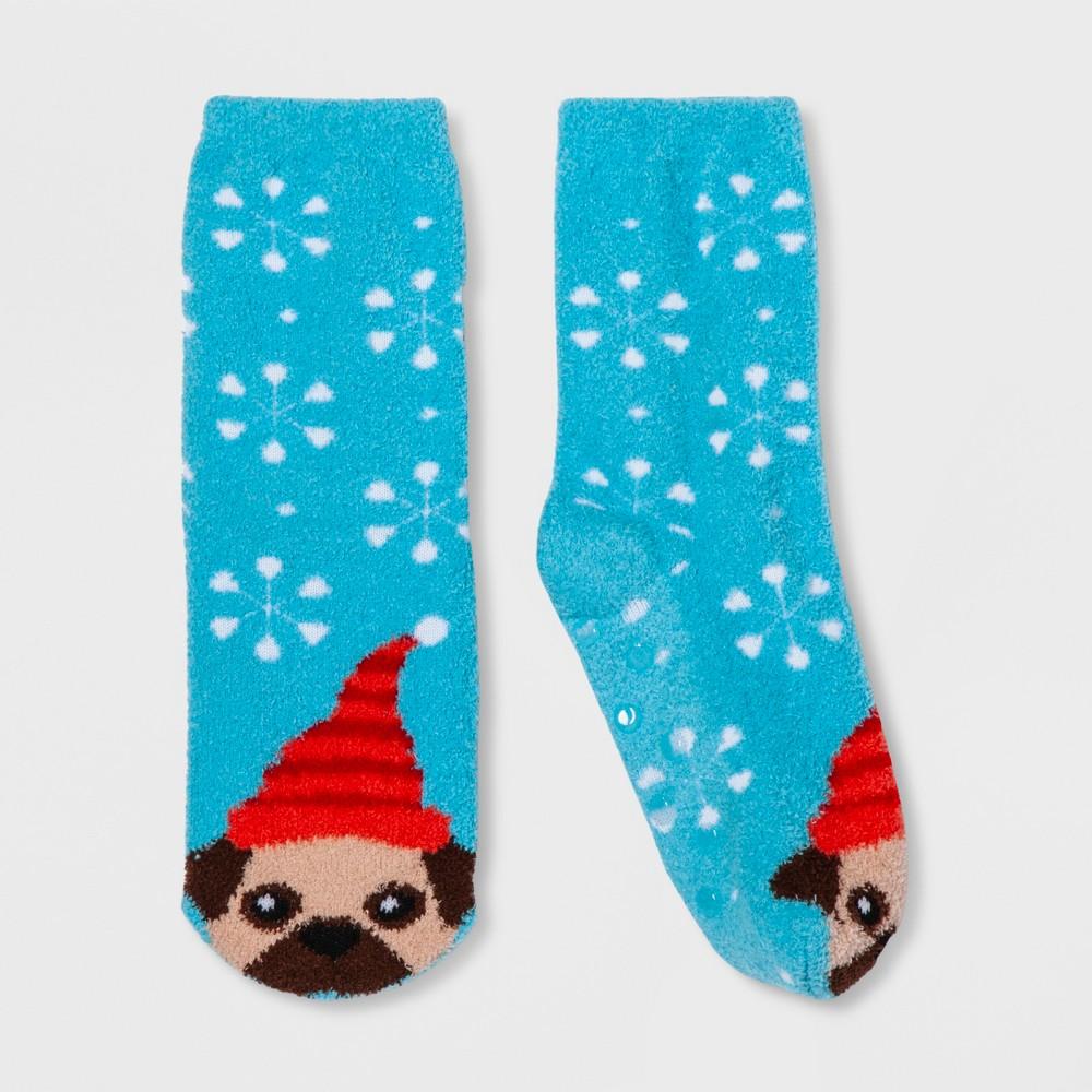 Girls' Holiday Pug Socks - Wondershop Light Blue S