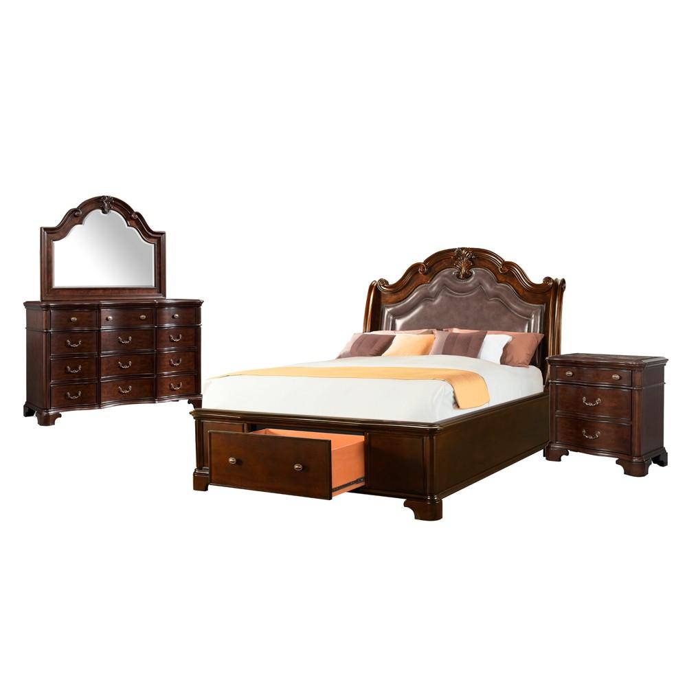 4pc Tomlyn King Storage Bedroom Set Dark Cherry - Picket House Furnishings, Beige