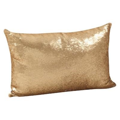 Gold Sequin Mermaid Design Throw Pillow (16 x24 )- Saro Lifestyle®