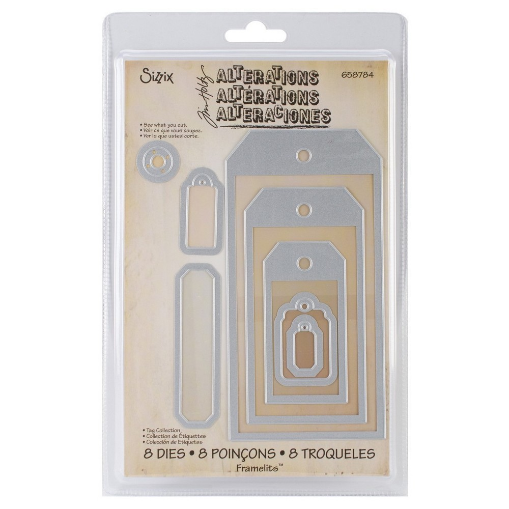 Image of Sizzix Framelits Dies By Tim Holtz 8/Pkg Tag Collection-Silver Asst Sizes, Gray