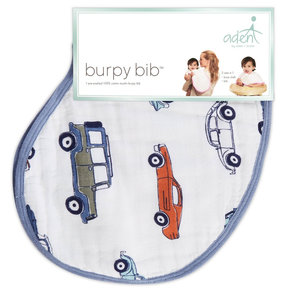 Image of aden by aden + anais Car Pattern Bib - Blue