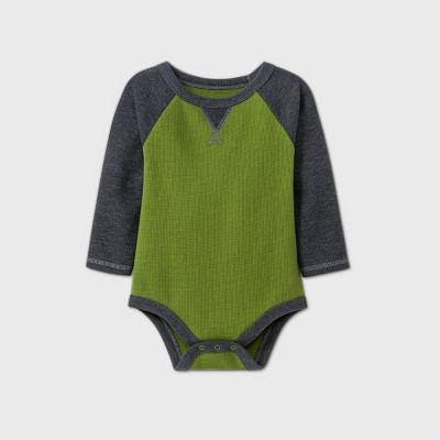 Baby Boys' Thermal Long Sleeve Bodysuit - Cat & Jack™ Green 0-3M