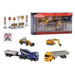Majorette - Construction Theme Playset and Vehicles - 5-Pk