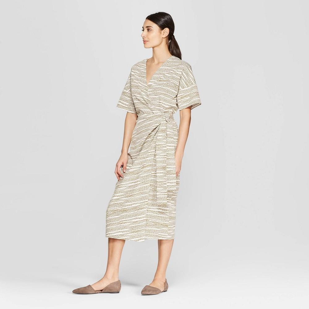 0348962a6495d Womens Polka Dot Short Sleeve V Neck Wrap Midi Dress Prologue Cream ...