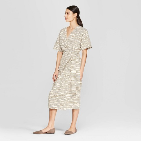 Women's Elbow Sleeve V-Neck Midi Wrap Dress - Prologue™ - image 1 of 3