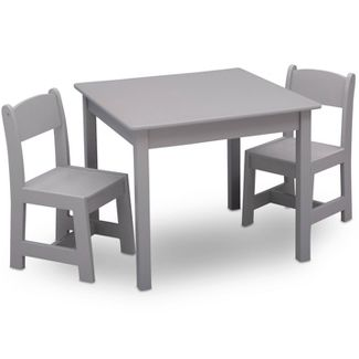 Delta Children MySize Kids' Wood Table and Chair Set 2 Chairs Included - Gray
