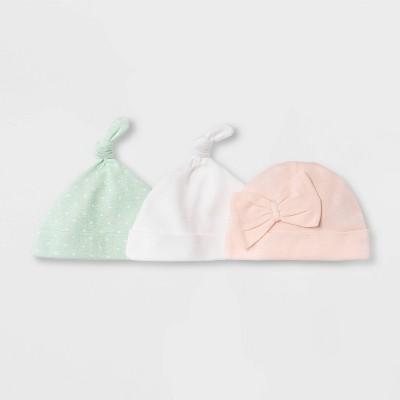 Baby Girls' 3pk Basic Hat - Cloud Island™ Pink 0-6M
