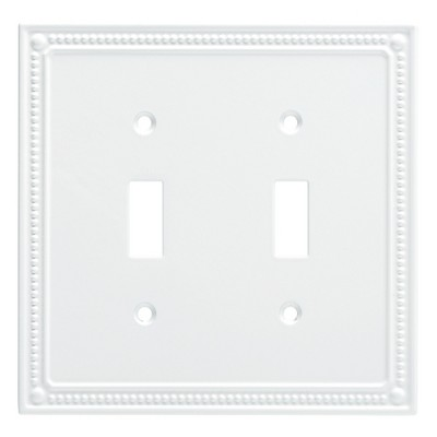 Franklin Brass Classic Beaded Double Switch Wall Plate White