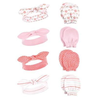 Hudson Baby Infant Girl Cotton Headband and Scratch Mitten Set, Cupcake, 0-6 Months