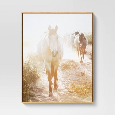 "24"" x 30"" Horse Framed Wall Art Brown - Threshold™"