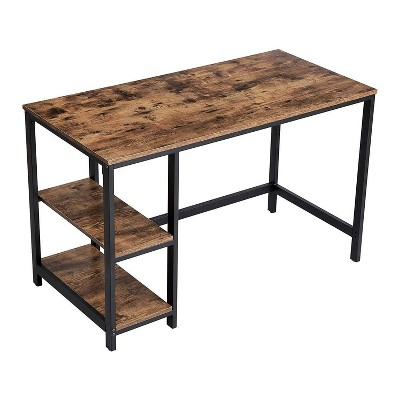 Industrial Wood and Metal Desk with 2 Shelves Brown - Benzara