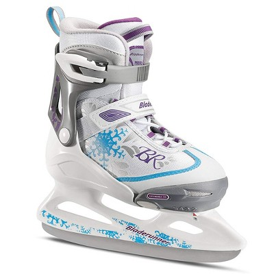 Rollerblade Bladerunner Micro Ice G Girls Youth Adjustable Skates, Small, White and Blue