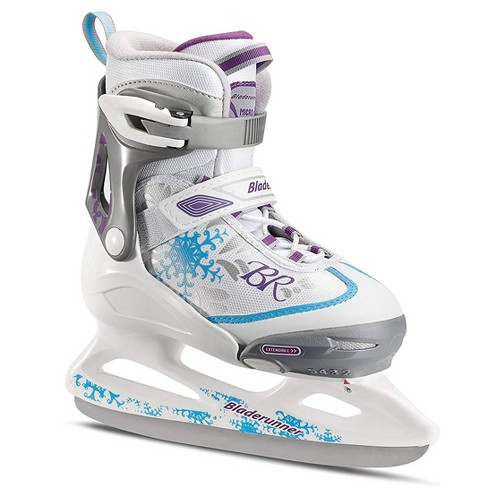 Rollerblade Bladerunner Micro Ice G Girls Youth Adjustable Skates, Large, White and Blue - image 1 of 3
