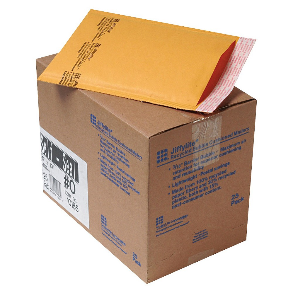 Image of Air Jiffylite 6in x 10in Self-Seal Mailer with Side Seam - Golden Brown (25 Per Carton)