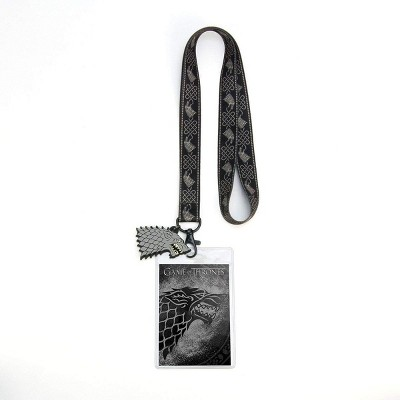 Crowded Coop, LLC Game of Thrones House Stark Lanyard w/ PVC Charm