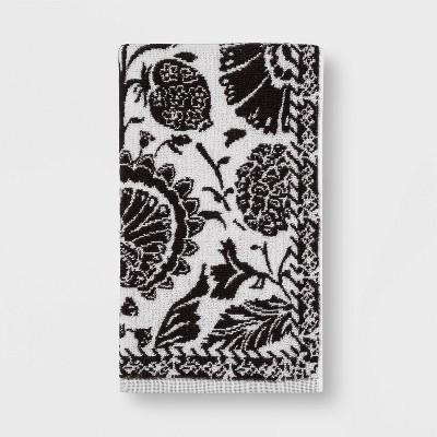 Floral Framed Bath Towel Dark Gray - Threshold™