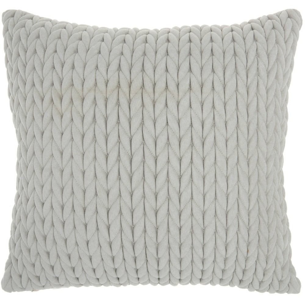 Image of Life Styles Quilted Chevron Throw Pillow Light Gray - Nourison