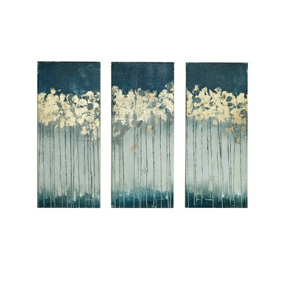"""(Set of 3) 15"""" x 35"""" Midnight Forest Gel Coat Canvas with Gold Foil Embellishment Teal"""