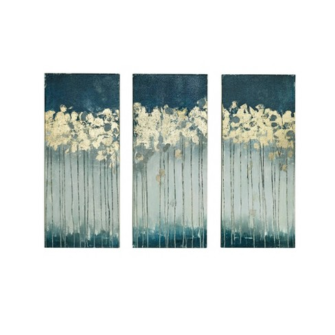 """(Set of 3) 15"""" x 35"""" Midnight Forest Gel Coat Canvas with Gold Foil Embellishment Teal - image 1 of 4"""