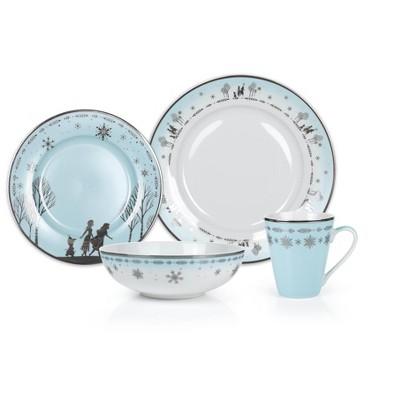 Robe Factory LLC Disney Frozen 2 Anna & Elsa Ceramic Dining Set Collection | 16-Piece Dinner Set