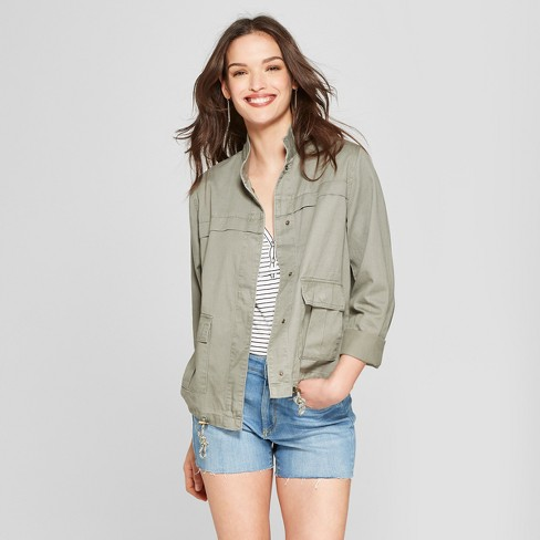 Women's Military Jacket - Universal Thread™ Olive S - image 1 of 3