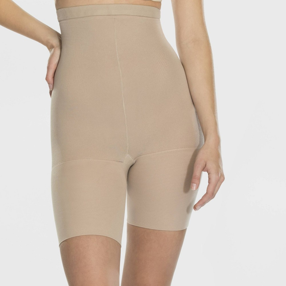 Image of Assets by Spanx Women's High-Waist Mid-Thigh Super Control Shaper - Tan 1