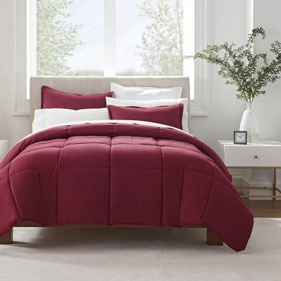 King 3pc Simply Clean Comforter Set Burgundy - Serta