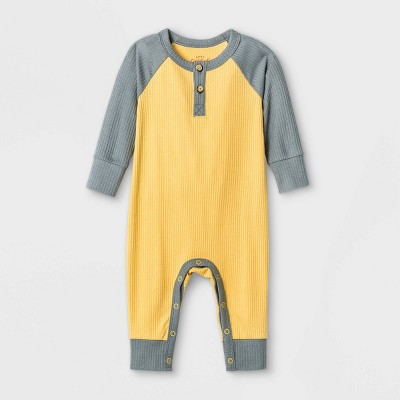 Baby Boys' Ribbed Romper - Cat & Jack™ Yellow Newborn