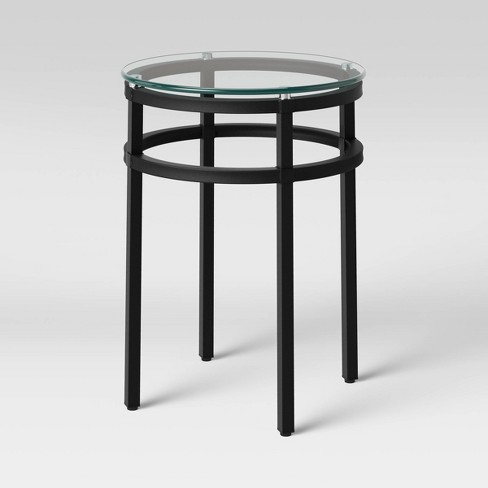 Ellsworth Glass Top Round End Table Clear - Threshold™ - image 1 of 4