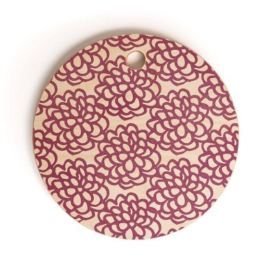 "13"" Wood Sunshine Canteen Dahlia Floral Cutting Board - society6"