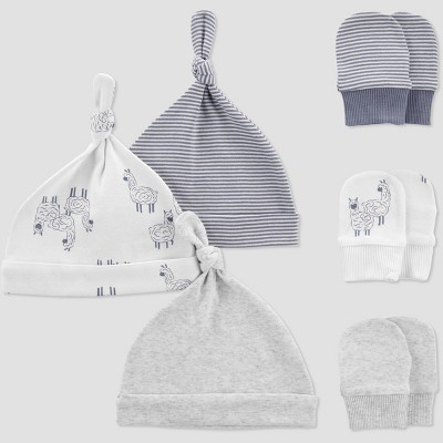 Baby 6pk Hat and Mitten Set - Just One You® made by carter's White/Gray